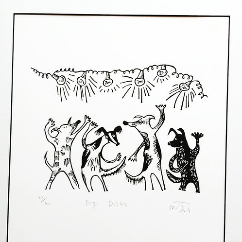 'Disco Dogs' Lino Print by Melanie Wickham