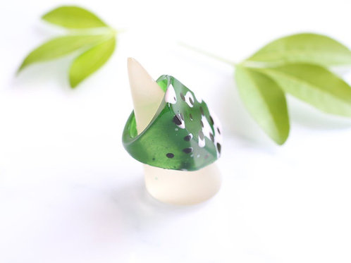 Green Spot Tall Ring by Gem Lettuce