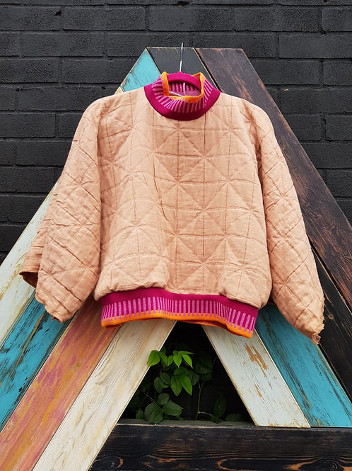 Pink Quilted Sweatshirt by Pearl's Drapery