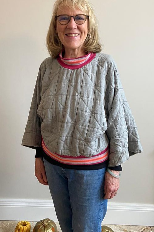 Light Grey Quilted Sweatshirt by Pearl's Drapery
