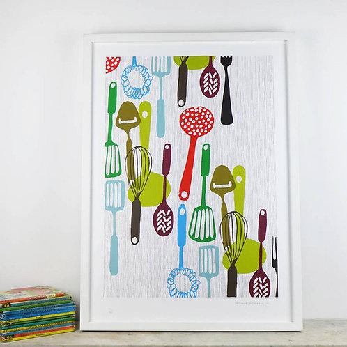 Kitchen Utensils Screen Print by Patrick Edgeley