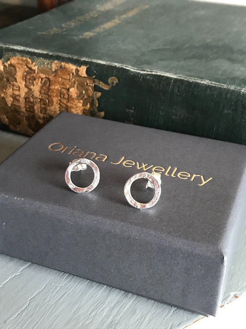 Hammered Circle Earrings by Oriana Jewellery