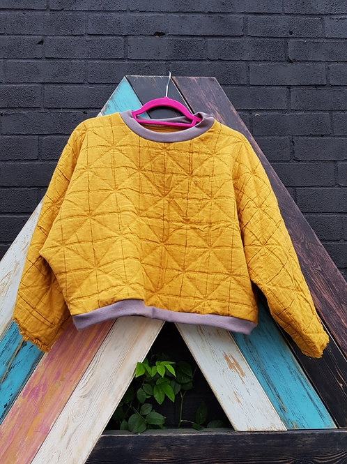 Mustard Quilted Sweatshirt by Pearl's Drapery