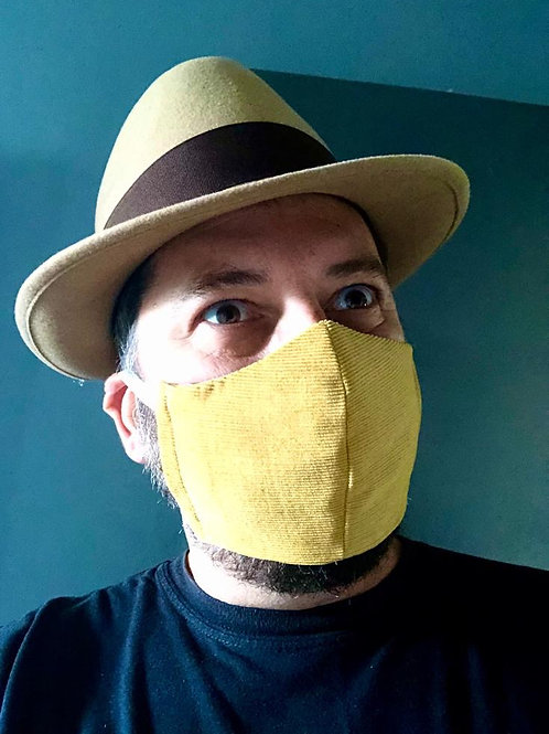 Mustard Corduroy Face Mask by Pearl's Drapery