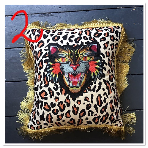 Leopard Print and Embroidered Tiger Cushion Cover by Desertland Wares