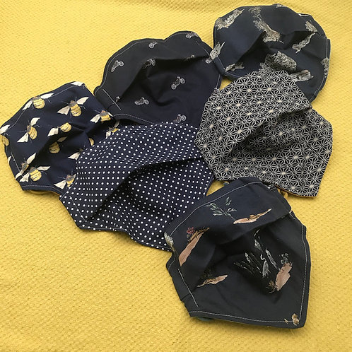 Bandana Reusable Cotton Facemasks  in Navy Blues by Lilo @ Little Town Lola