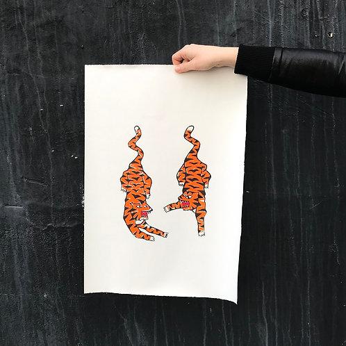'Tigerrrs' Linocut Print by Anna Soba