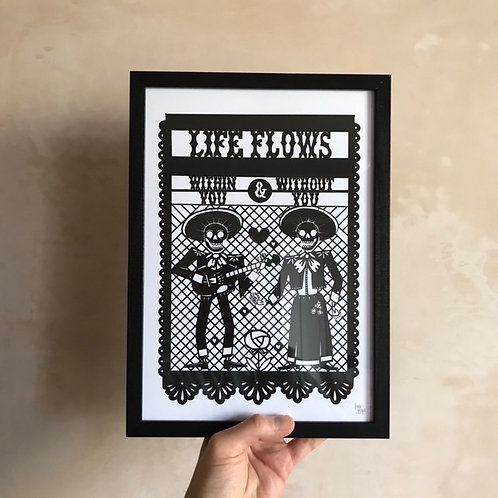 'Life Flows' Print in Black By Porkchop Papercuts