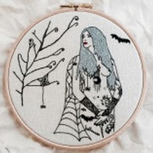 Embroidery Kit - The Autumn Tattooed Lady by Vintage Mad by M