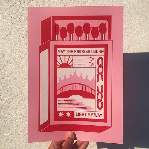 'Bridges' A4 Screen Print by HEIHŌ