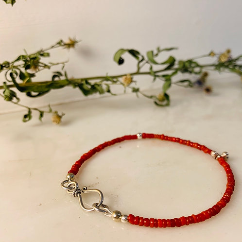 Bracelet with Red Micro Beads by RISZA X Jody