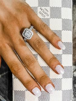 White Glitter Manicure Gel Zen Nail Spa