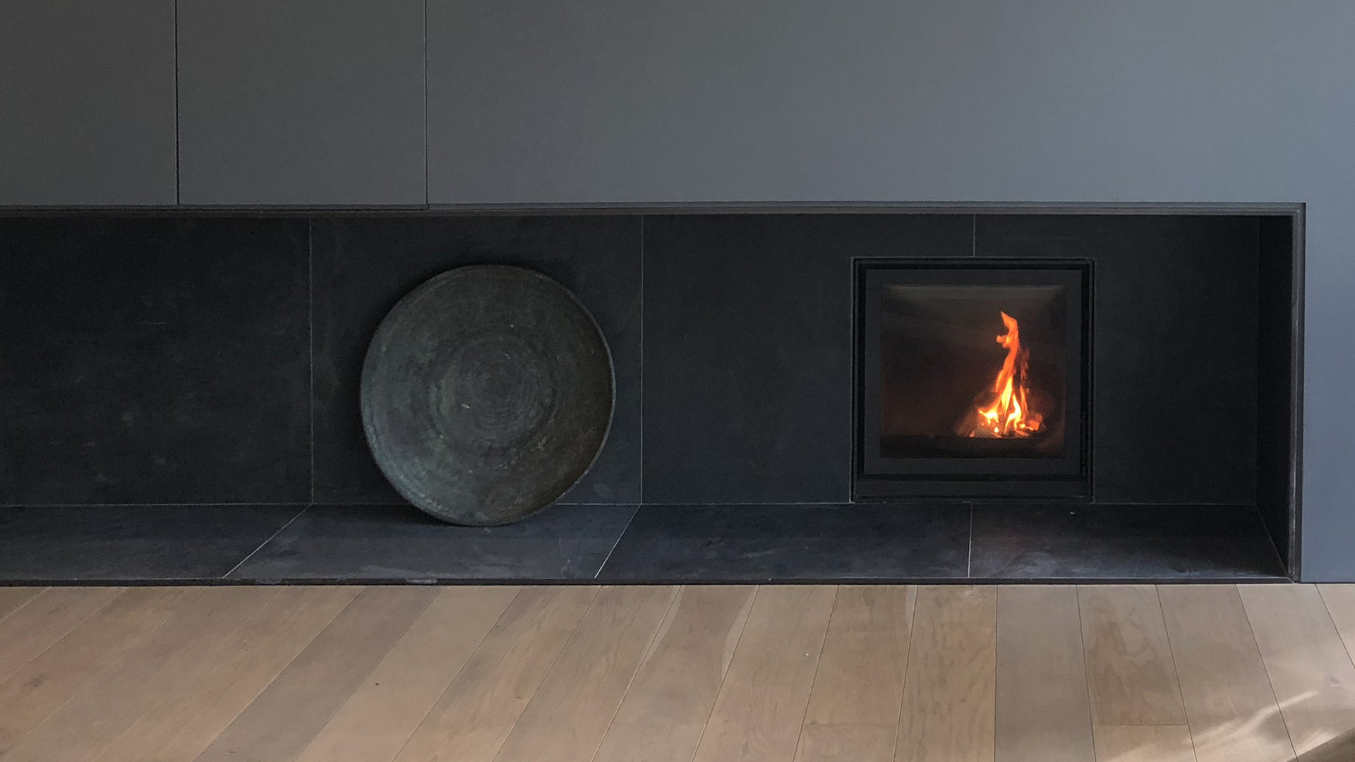 contemporary wood burning stove house in Surrey