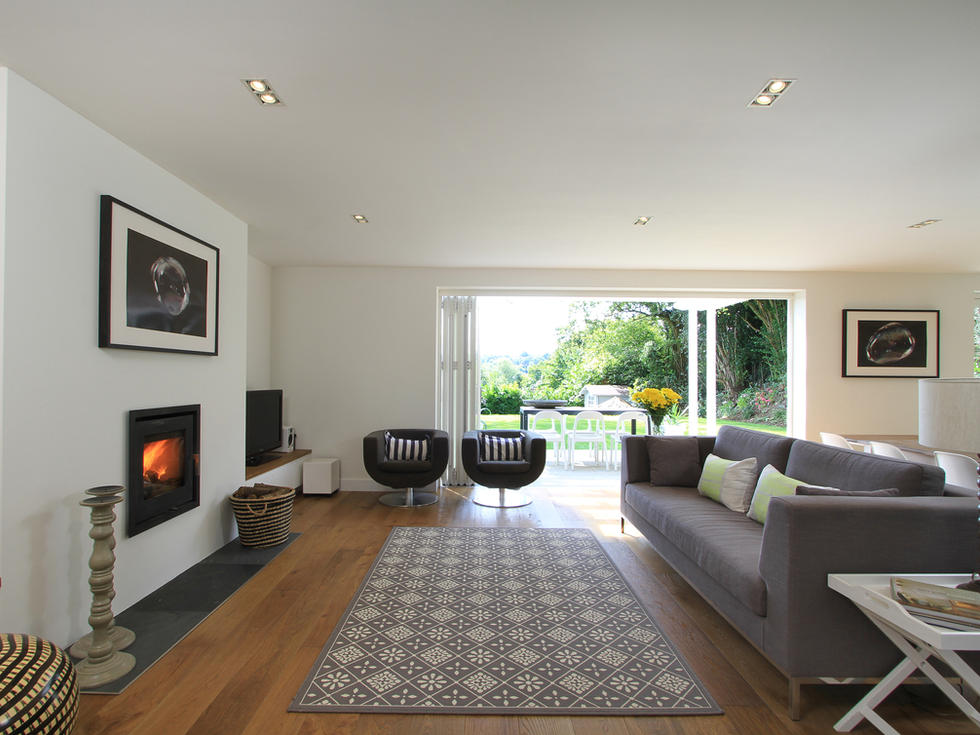 contemporary extension with wood burning stove, Haslemere