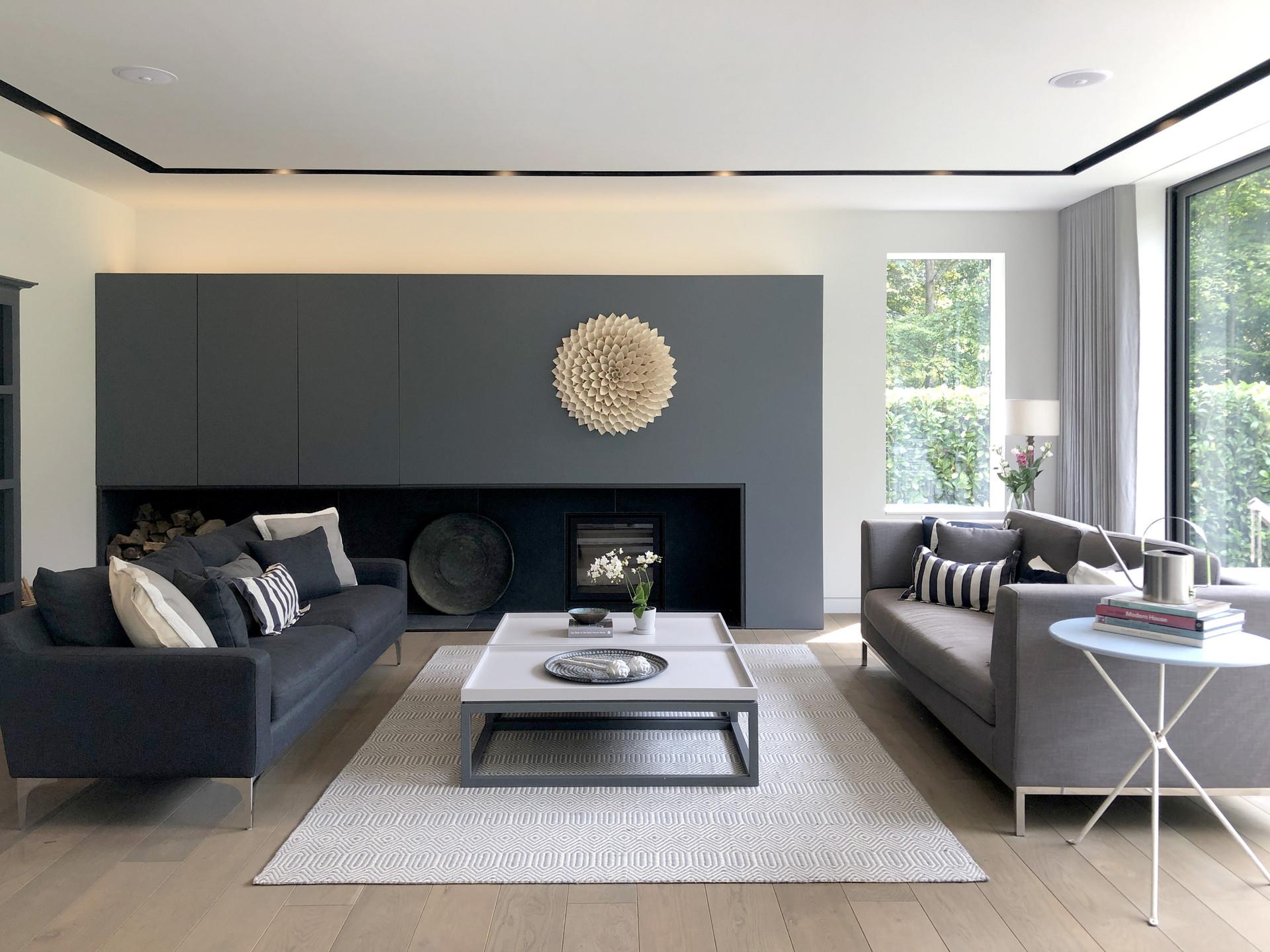 Modern Living room with oak timber floor, home in Surrey