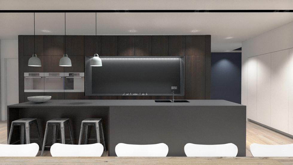 Modern architecture kitchen render with walnut & stone in Surrey