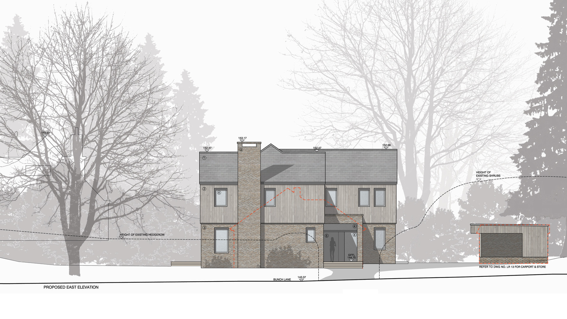 Haslemere new build house elevation drawing