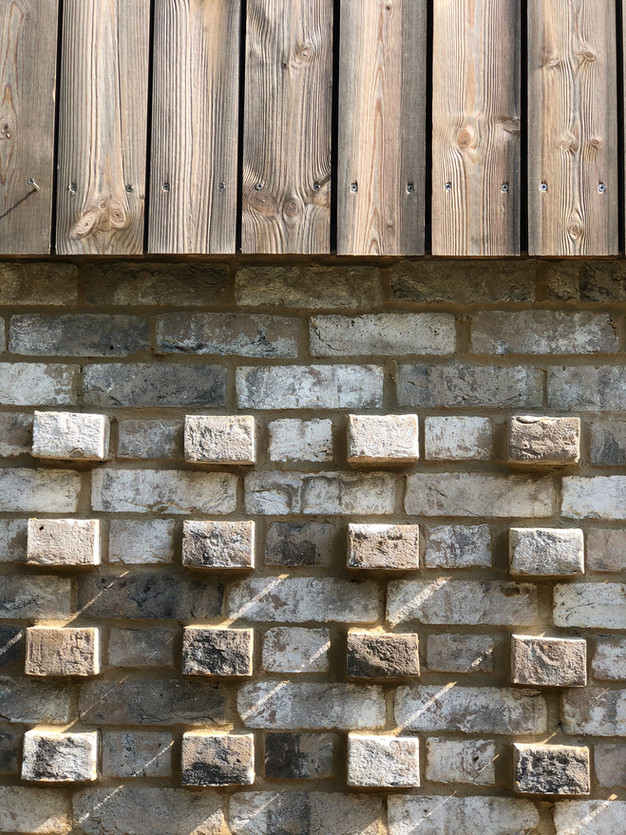Brick pattern detail & Kebony cladding, modern architecture in Surrey