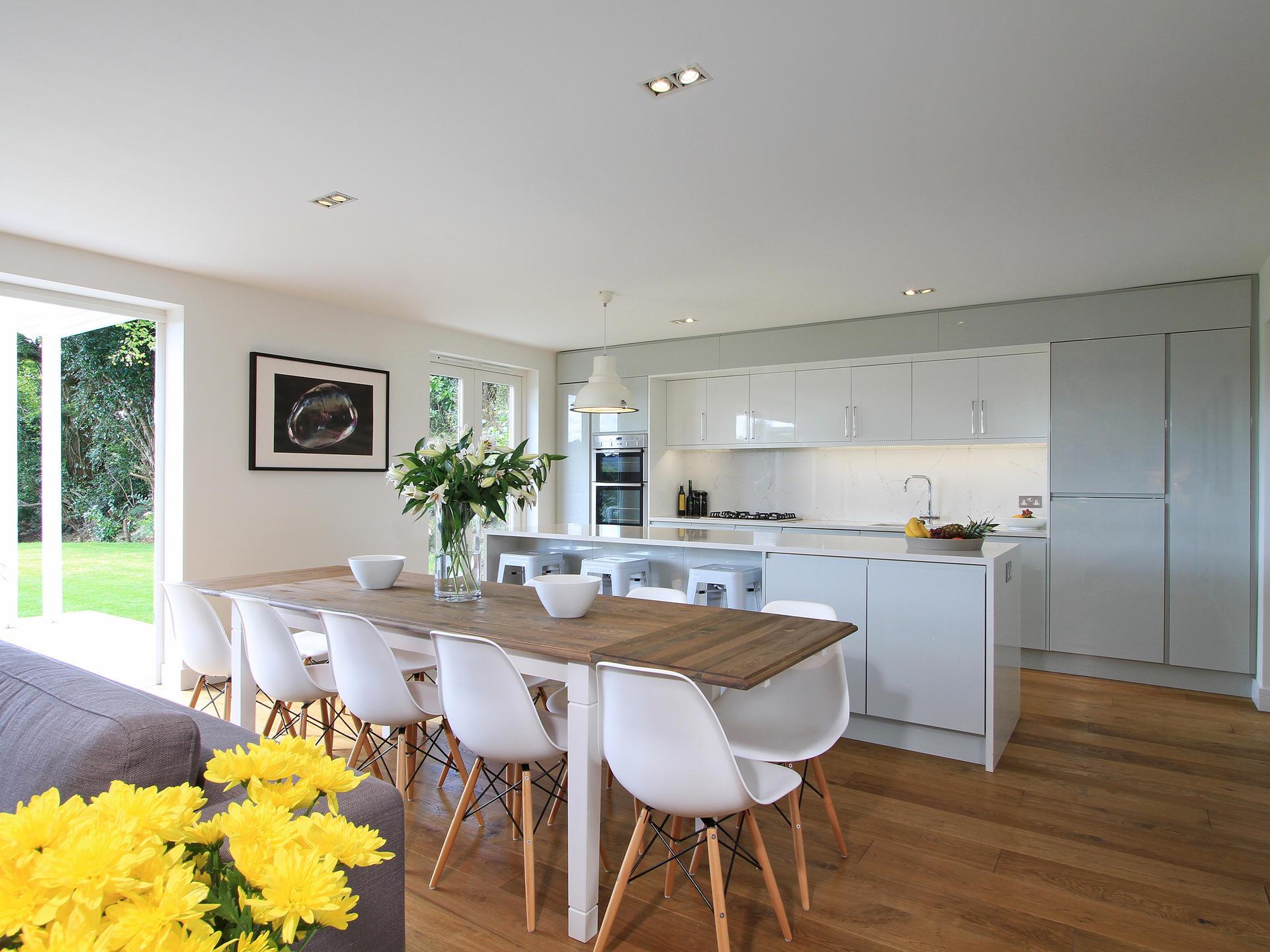 modern interior kitchen & dining room in Surrey