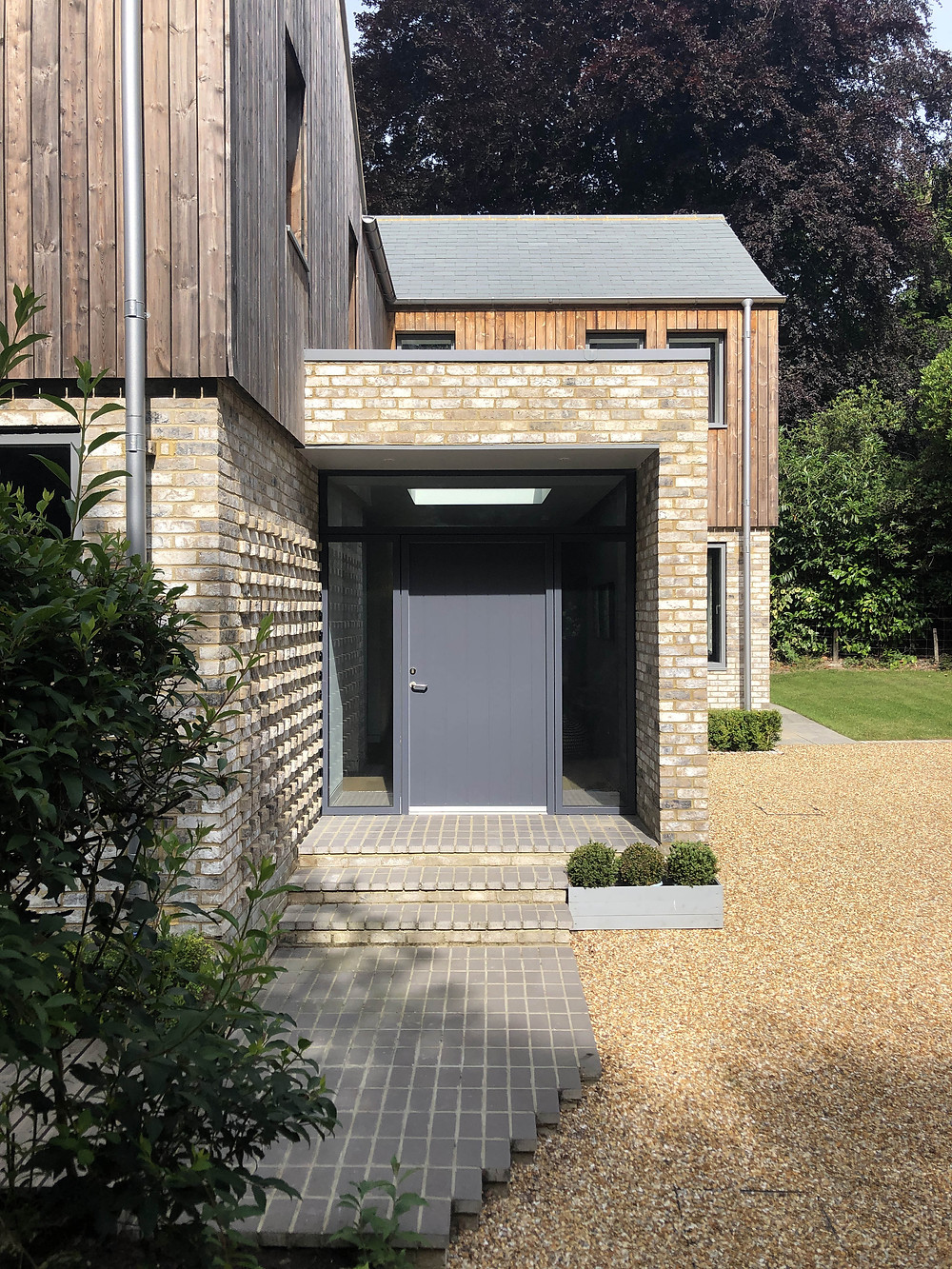 Contemporary architecture, entrance to house in Haslemere, Surrey