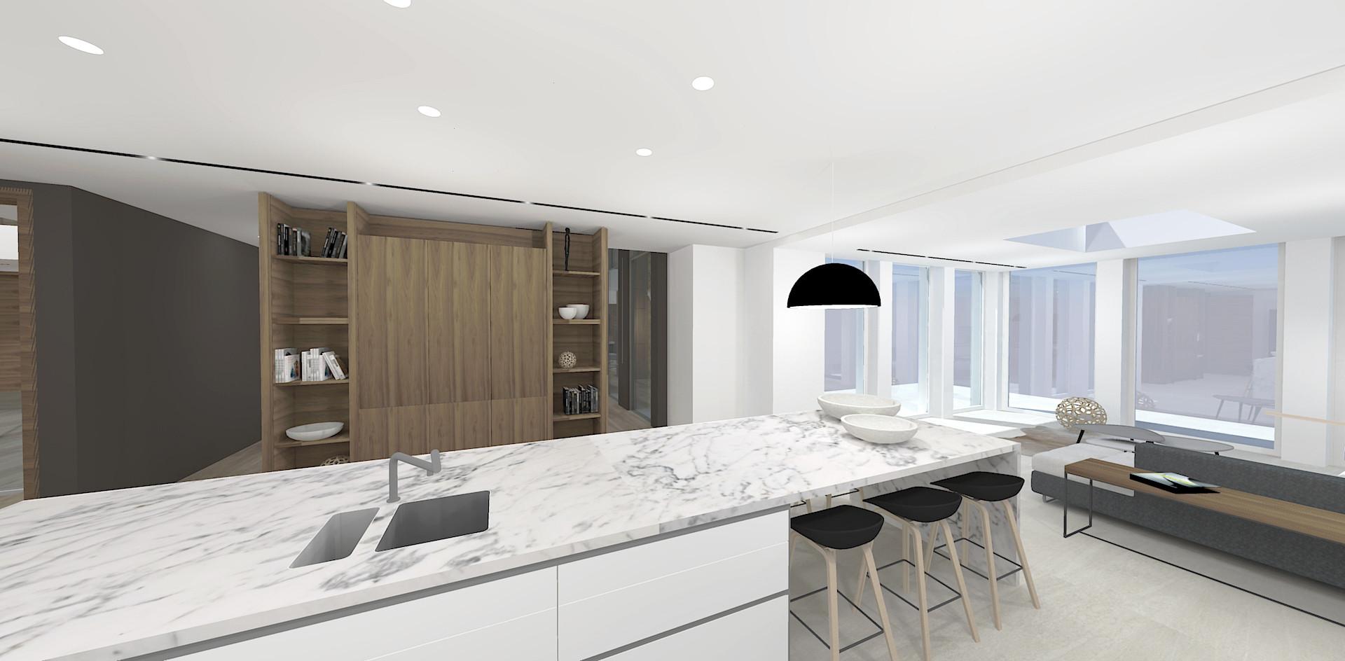 Modern kitchen interior visualisation 3D