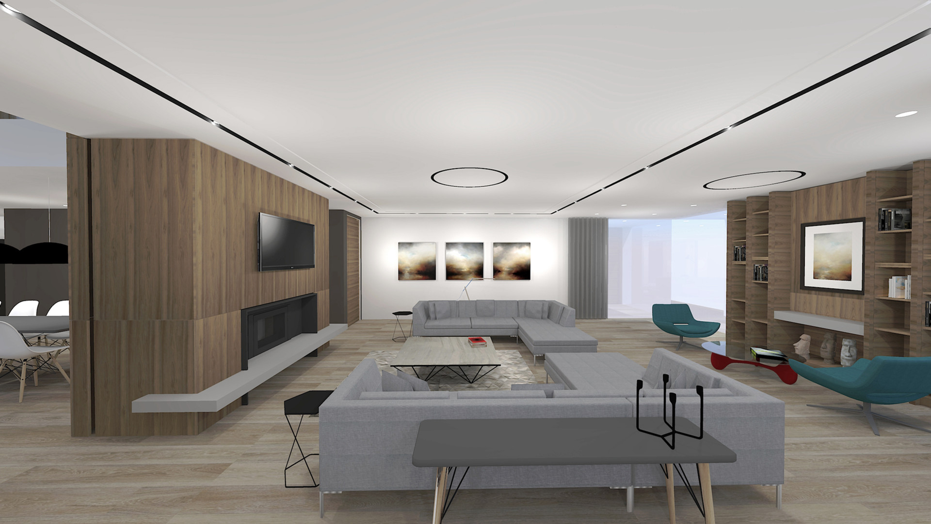 Modern living interior render 3D