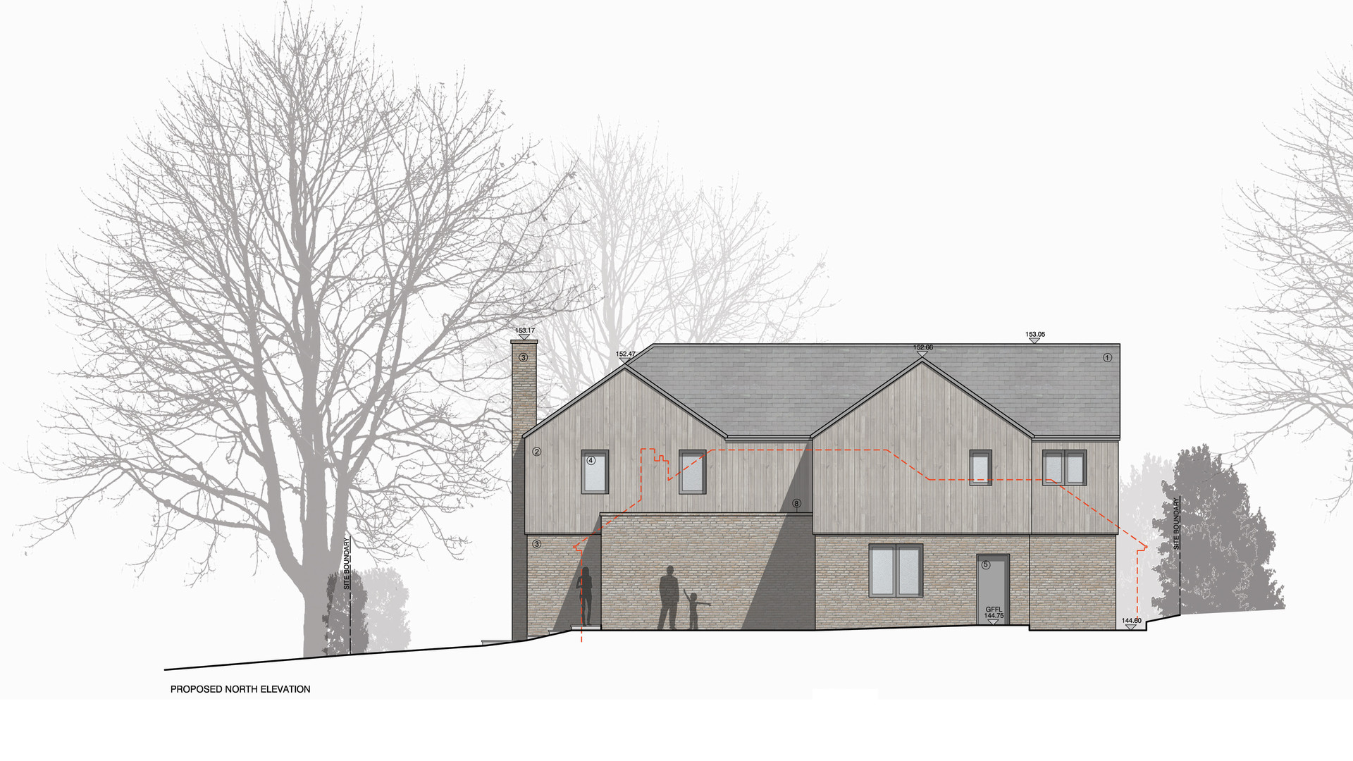 Surrey new build house elevation drawing