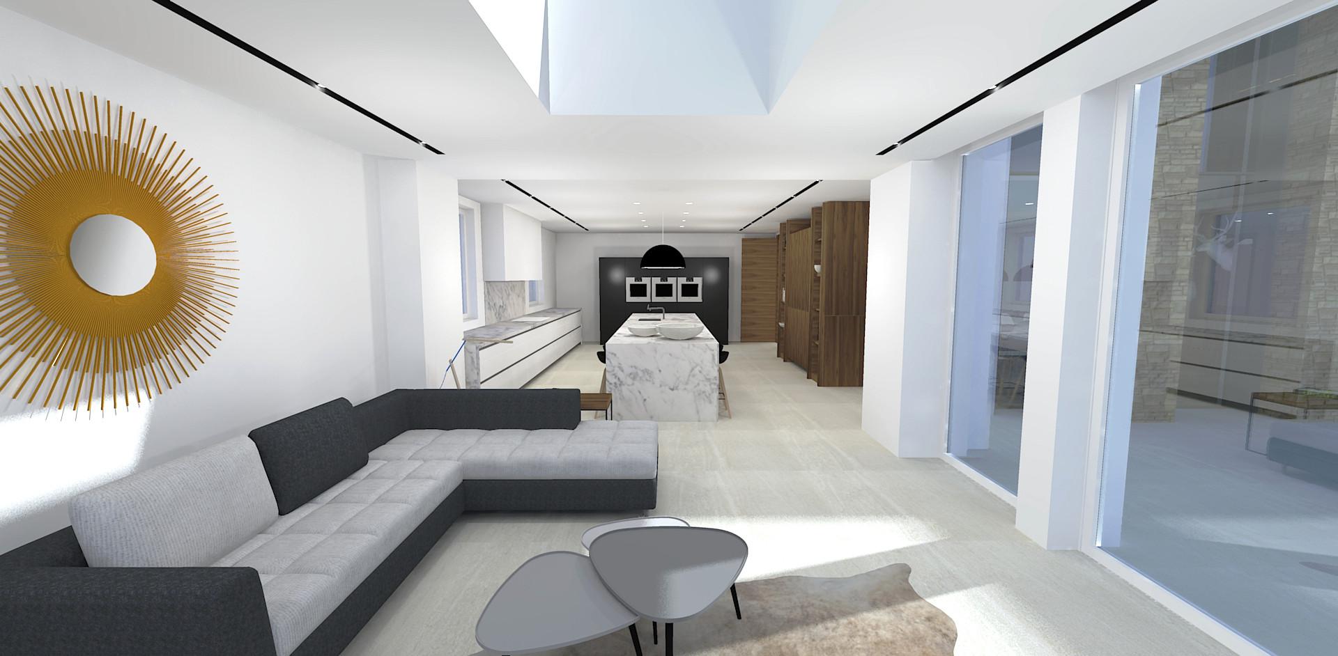 Modern kitchen & living interior design 3D