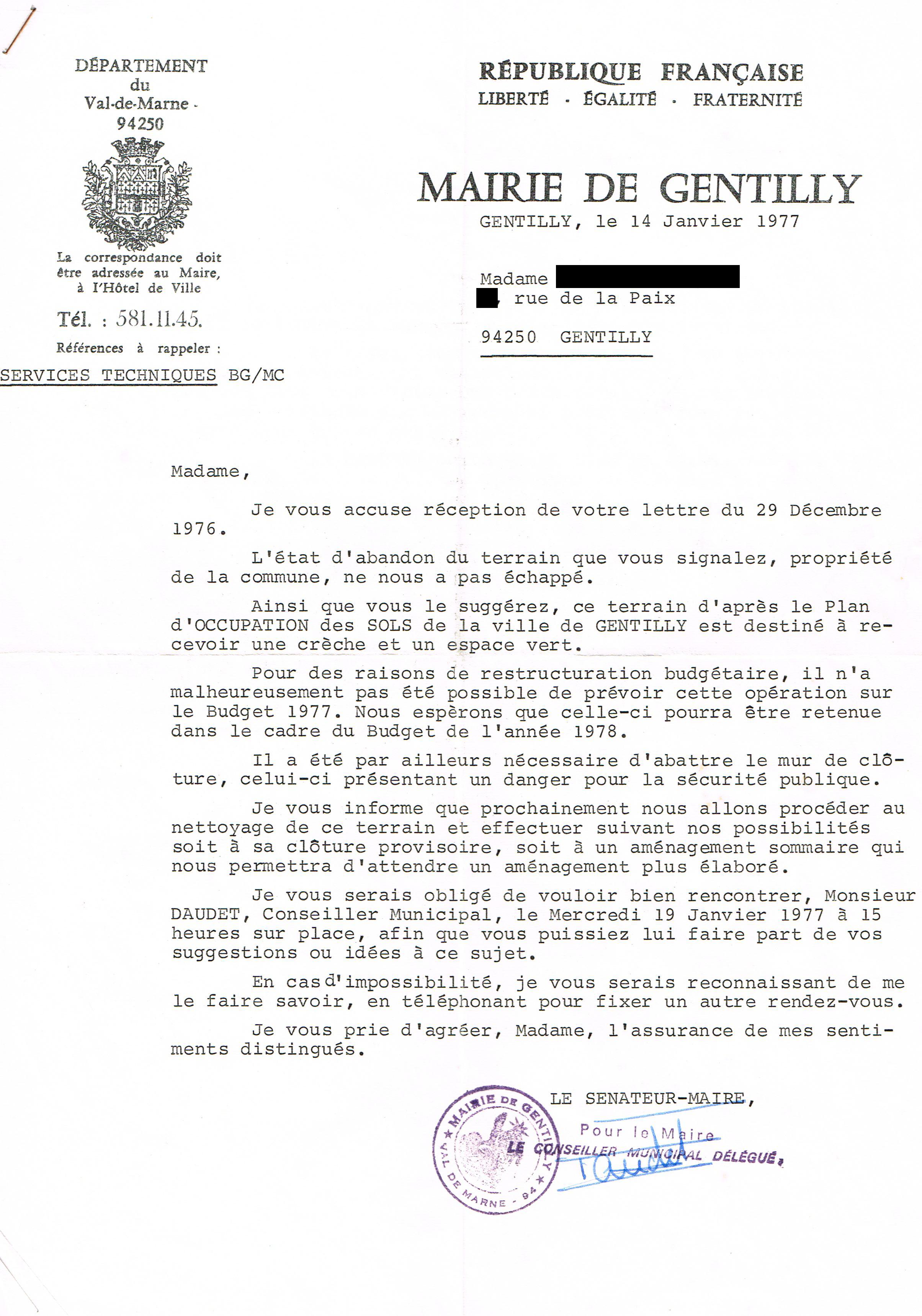 1977 lettre Mairie