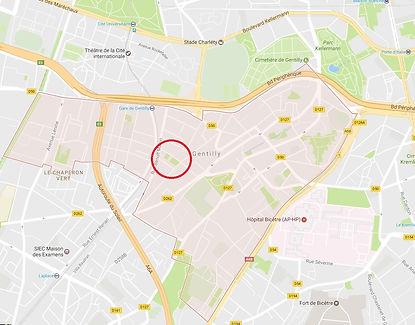 Gentilly entre A6A, A6B et périphérique... En son coeur le quartier du PLateau et l'îlot Paix-Reims