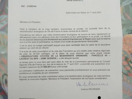 Nouvelles aux adhérents et partenaires, les 9 et 18 avril 2021