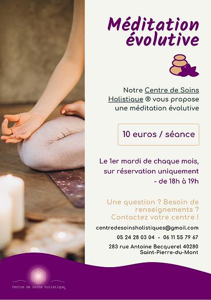 flyer de méditation au centre de soins holistiques, ce sont des ateliers qui sont proposés
