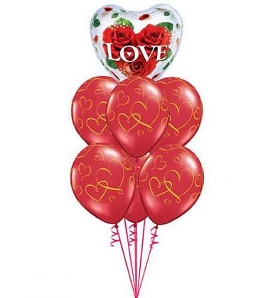 Valentine's Day Balloon Bouquet, with 9 Balloons & Cinnamon Rolls