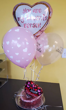 Valentine's Day Balloon Bouquet, with 5 balloons &  9 inch Cheesecake