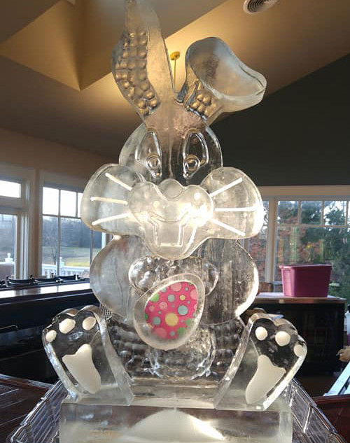 Easter Bunny and Egg Ice Sculpture