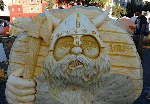 Pumpkin Carving of Viking with Axe