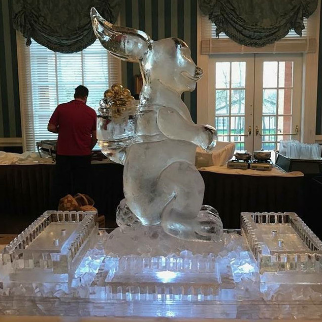 Bunny Backpack Ice Sculpture