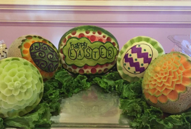 Fruit Carving Happy Easter Melons