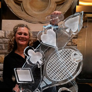 Luge Ice Sculpture Tennis Raquet