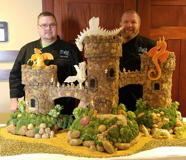 Food Art Potato Carving Castle