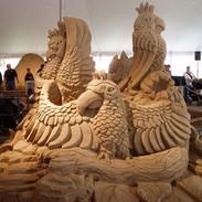 Sand Sculpture Parrots