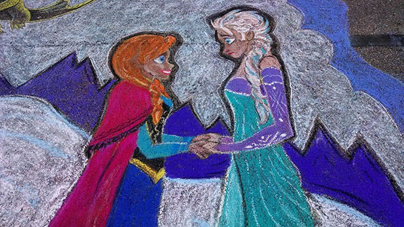 Anna and Elsa Chalk Art