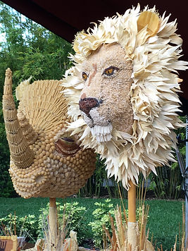 Pasta Art Sculpture of Lion Head and Rhino