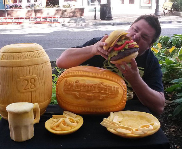 Hamburger Pumpkin Display