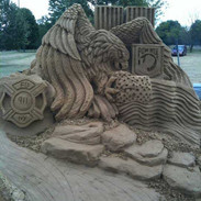 Sand Sculpture Eagle and Flag