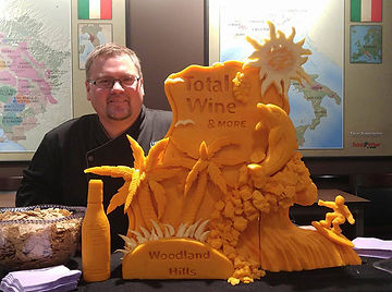 Cheese Carving of Palm Trees and Dolphin