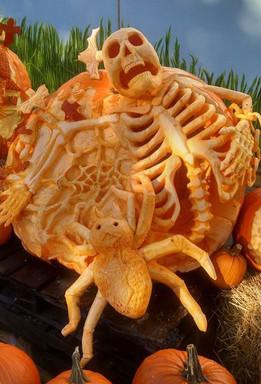 Pumpkin Carving of Skeleton