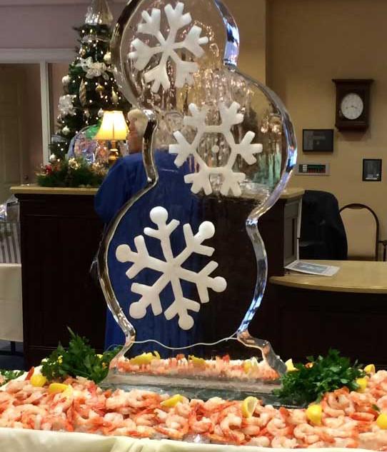 Triple-Snowflake-with-Shrimp-Ice-Sculptu