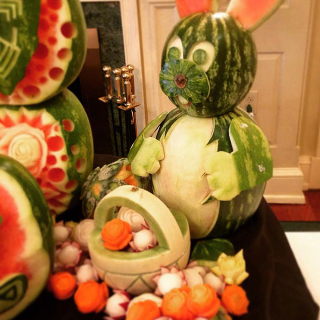 Easter Bunny Fruit Sculpture
