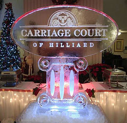 Ice-Sculpture-Carriage-Court-Logo-on-Col